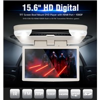 15.6 Inch Flip-Down Car DVD Player with HDMI, USB, SD, IR, FM, Wireless Game