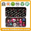 Rectangular Cosmetic Hinged Tin Box, Makeup Tin Container (BR548)