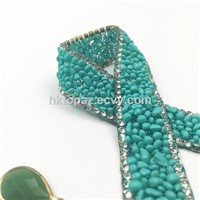 New Material 15mm Aquamarine Rhinestone Resin Chain Hotfix Rhinestone Chain