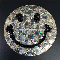 2017 Clear Hotfix Glass Rhinestone Patch Smiling Face Lead Free Rhinestone Appliques for Garment/Shoes/Hats (TP-Smiling