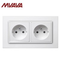 MVAVA 16A Double FR Standard Socket Dual AC 250 V Electrical Outlet PC White Panel