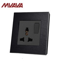 MVAVA 3 Pin Multifunction Wall Light Socket Black Artificial Wood Panel UK 13A Switched Socket with LED Indicator 86*90M