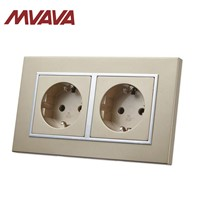 MVAVA Double EU Standard Socket 16A CE Approved Champagne PC Series 146 * 86mm