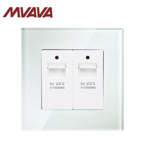MVAVA Universal Electrical Double Computer Wall Socket Luxury Crystal Glass Panel 10A 110~250V 220V PC Wall Outlet