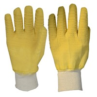 Yellow Crinkle Latex Dipping Working Glove