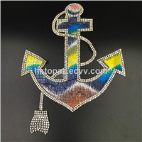 Decorative Ship's Anchor Design Hotfix Rhinestone Iron On Patches (TP-Ship's Anchor)