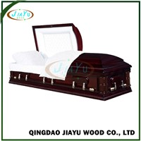 First-Rank Handcraft Customized Head Panel Colored Pine Veneer Casket Funeral Coffin