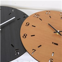 Creative Circular Simple Quiet Bedroom Wooden Hanging Wall Clock