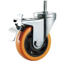Medium Duty Caster Wheel Hardware Bolt Hole PVC Plastic 4 Inches Double Ball Bearing Wheels
