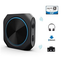 Bluetooth 4.1 Transmitter & Receiver, Aptx Low Latency Wireless Audio Adapter with 3.5mm Stereo Output for Headphone