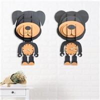 Creative European Style Cartoon Design Wood Wall Quiet Clock