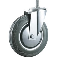 Industrial Caster Wheel Hardware Gray Rubber 5 Inches Thread Stem Roller Bearing Wheels
