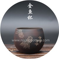Chinese Qinzhou Nixing Pottery Handmade Goldfish Cup Kungfu Large Tea Cup