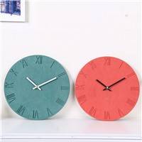 Creative Round Shape Fashion Roman Digits Wood Wall Clock