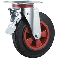 Waste Bins Caster Wheel Rubber Plastic Swivel with Brake 8 Inches 1100L Bins Wheels