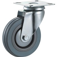 Medium Duty Caster Wheel Hardware Gray Rubber Swivel 3 Inches Plain Bearing Wheels
