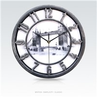 European Style Famous Building Background Plastic Wall Clock