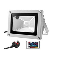 Waterproof 10W Outdoor Flood Light Fixtures, 16 Colors Changing with 3 US-Plus&Remote for Garden, Hotel, Landscape