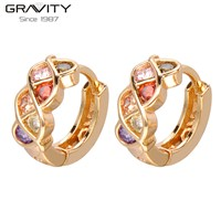 Saudi 22k Gold Jewelry New Design Colorful Stone Gold Earrings for Girls