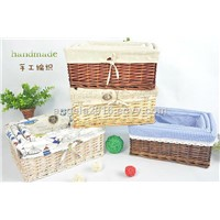 Willow Woven White Storage Basket with Linner Made In China