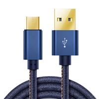 Jeans Sync Aluminum Alloy Cowboy USB a to Micro USB Charging Cable