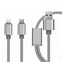 Multi 2 in 1 USB Cable Slim Braided Micro USB Cable for Cellphone
