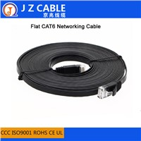 Shenzhen Factory Supply 32awg Copper Black 1M UTP Flat CAT6 Network Cable, Cat6 Flat Patch Cord Cable, Flat Cat6 LAN Cable