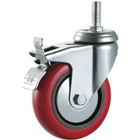 Medium Duty Caster Wheel Hardware PVC Plastic Bolt Hole with Brake Plain Bearing Wheels