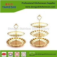 Gold Color Stainless Steel Fruit Plate Wiht Metal Rim