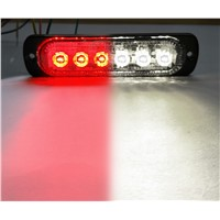 3W Super Bright Red/White 6-LED Flash Emergency Hazard Warning Strobe Light Bar