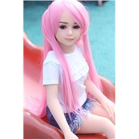 100cm Pink Long Double Ponytail Big Black Eyes Sexy Lip Angel Face Slim Body-Shape Sex Doll