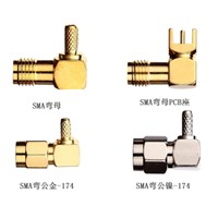 Right Angle SMA RF Coaxial Connector with Cable for PCB