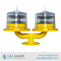 Low Intensity Double Solar Powered Aviation Obstruction Lights / Solar Obstruction Light for Towers
