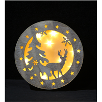 New Designed Indoor Wood LED Round Christmas Decorative Light