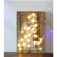 Customized Tree & Deer LED Home Wooden Wall Decorative Board