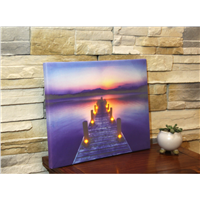 Customized Lake & Bridge LED Wall Wooden Home Decorative Board