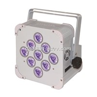 LED 9Pcs Stage Battery Light/RGBWA+UV 6IN1