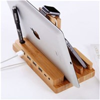 Wooden Stand for Tablet PC Display Stand with Charger