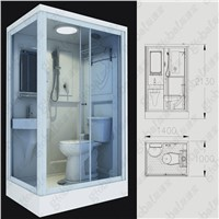 Ceramic Flushing Prefabricated Shower Pod for Bathroom