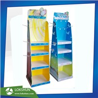 POP Cardboard Floor Display with 3 Shelves & Hooks on 2 Sides Cardboard Pegboard Display
