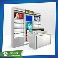 China Cosmetic Display Rack with LED Lights Wooden Display Rack Manufacturer