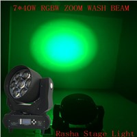 Rasha New 7leds*40W DJ Lighting 4in1 RGBW ZOOM Wash LED Moving Head Light Stage Disco Moving Head Mini Bee Eye with 14 C