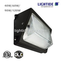 DLC Qualified LED Wall Pack Lights with Glass Refractor, 120W, 5 Year Warranty