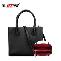 Online Shopping Low MOQ Front Genuine Leather Bags Zipper Pocket Full Grainy Leather Handbag