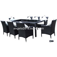 Hot Summer Design Best Selling Wicker PE Rattan Dining Sets Wooden Table & 8 Chairs Outdoor Furniture