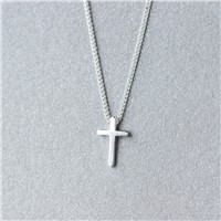 Fashion Simple Cross Solid 925 Sterling Sliver Necklace