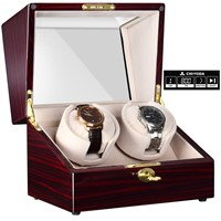 CHIYODA Automatic Handmade Double Watch Winder with Quiet Mabuchi Motor, LCD Digital Display