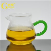 Hand Made Clear Tea Cups Glass Tea Mugs with Green Handle