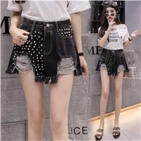 Fashion High Waist Lace Hot Shorts Summer Women's Beach Resort Bohemia Short Jeans Hole Nice Washing Street Denim Shorts