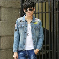 2018 Fashion Winter Blue Large Size Denim Jacket Men's Fashion Casual Jacket Youth Personality Denim Jacket
